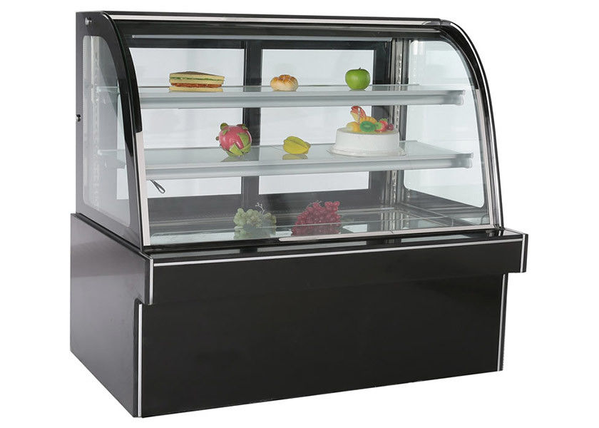 Black Marble Stainless Steel Refrigerated Cake Showcase With Back Sliding Door
