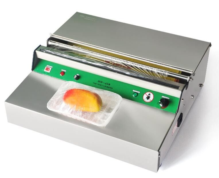 Stainless Steel Electric PVC Cling Film Wrapping Machine / Food Tray Sealing Machine